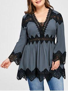 Plus Size Long Sleeve Lace Panel Peplum Blouse - Gray Xl Plus Size T Shirts, Plus Size Blouses, Plus Size Tops, Plus Size Women, Wedding Dresses Plus Size, Plus Size Dresses, Plus Size Outfits, Fall Fashion Trends, Autumn Fashion