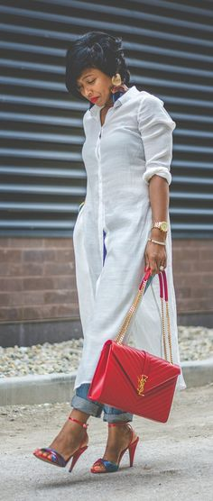 WHITE BUTTON DOWN, Fall Outfit Idea, Sweenee Style, Zara Earrings, Boyfriend Jeans, How to wear boyfriend Jeans, Urban Outfitters, Indianapolis Fashion Blog, Black Indianapolis Blogger, YSL handbag, Red YSL