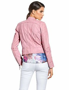 ZUCCHERO - Leather jacket in our Fashion Shop at heine.co.uk Grey Leather Jacket, Pink Leather, Elegant, Ruffle Blouse, Jackets, Shopping, Tops, Women, Fashion