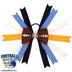 Handmade Football Hair Bow made from real football leather with navy blue, powder blue, gold, and white ribbon accents inspired by San Diego football Football Hair Bows, Football Team, Different Font Styles, Rose Boutonniere, Team Mom, Elastic Hair Ties, Making Hair Bows, Blue Gold, Navy Blue