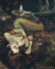 (Painting: Atargatis — Annie Stegg) ------- The earliest known mermaid legend comes from Syria around 1000 B.C. where the Syrian goddess Atargatis  fell in love with a human, to their demise she somehow accidentally killed him, devastated she threw herself in a lake and became a fish, but the powers there would not allow her give up her great beauty, so only her bottom half became a fish and she kept her top half in human form.