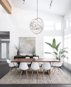 Gorgeous 30 Modern Minimalist Dining Room Design Ideas for Comfortable Dinner Wi. - - Gorgeous 30 Modern Minimalist Dining Room Design Ideas for Comfortable Dinner With Your Family – DECOOR Minimalist Dining Room, Dining Room Modern, Living Room Ideas Modern Contemporary, Small Dining, Mid Century Modern Dining Room, Mid Century Dining Table, Modern Contemporary Living Room, Contemporary Design, Contemporary Apartment