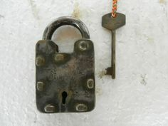 Old Solid Nicely Handcrafted Iron Pad Lock, Nice Shape