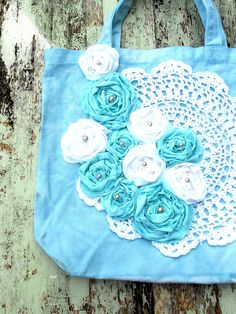 Rose tote Bag Shabby chic country chic purse by TrueRebelClothing, $24.00