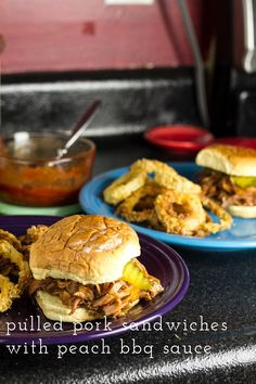 Leftover bbq pork shines when you pair it with a quick peach bbq sauce and pile it on a soft, fresh bun for this simple sandwich! | recipe from Chattavore.com