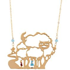 Les Nereides Once Upon A Time Alice And The White Rabbit In The Cat Of... ($66) ❤ liked on Polyvore featuring jewelry, necklaces, gold, 14 karat gold jewelry, cat necklace, chain necklace, 14 karat gold necklace and 14k necklace