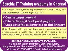 #Senelda IT consultants is now opening the doors for a career in Information technology. 2015, 2016 and 2017 engineering graduates can now find a breakthrough just by attending our Training and Development program.