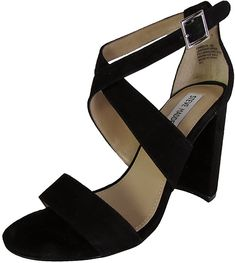 Amazon.com | Steve Madden Womens Christa High Heel Sandal Shoes, Black Suede, US 7.5 | Shoes