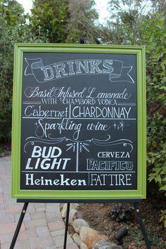 Chalkboard Sign // WEDDING // Sign // Framed CHALKBOARD // Vintage Wedding // Drink Menu // Chalk Board Menu Decoration. $175.00, via Etsy.