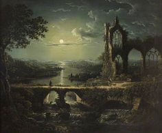 Moonlit River Scene with a Ruined Gothic Church, and a Stone Bridge with an Angler by William Pether (1731–1819) Oil on canvas, 61 × 73 cm. National Trust, Anglesey Abbey, Quy Road Lode, Cambridge, Cambridgeshire, England