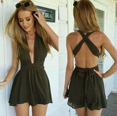 Open-Front, Cross-Back Romper: These damn Deep-V's are going to be the death of me