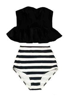 Black Strapless Long Peplum Tankini Top and Striped High Waisted Waist Shorts Bottom Swimsuit Bikini Swimwear Swimming Bathing suit S M L