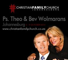 Pastor Theo and Beverley, along with more than 250 Christian Family Church associates birthed out of this ministry, also have a memorandum of association with the Apostolic Faith Mission of South Africa, founded by John G. Lake.  Pastor Theo believes deeply in spending much time in prayer and God's Word. The most important thing in his life is to know the will of God in all his decisions.   Catch: Living Life with Theo Wolmarans (Weekdays from 10h00 to 10h30)