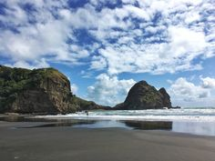 Piha Beach Black Sand New Zealand Black Sand, Auckland, Robots, Places To See, New Zealand, Waterfall, City, Beach, Travel