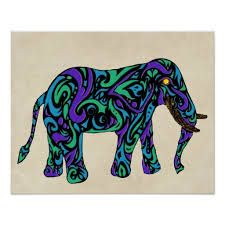 Google Image Result for http://rlv.zcache.com/tribal_tattoo_elephant_in_purple_blue_and_green_poster-r2c28d99ac3db47b29b1343faee2e097f_wv3_8...
