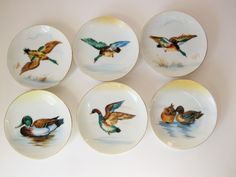 Six 'Ucagco' Made in Japan, Miniature Wall Plates - Hand-Painted Ducks - Nut Plates With Removable Wires - Collectible and Vintage by VintagePottery on Etsy