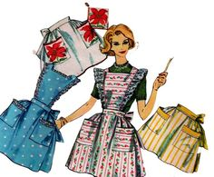 1960s Vintage Sewing pattern Aprons from allthepreciousthings