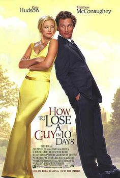 How to Lose a Guy in 10 Days is a 2003 romantic comedy film, directed by Donald Petrie, starring Kate Hudson and Matthew McConaughey. It is based on a short cartoon book of the same name by Michele Alexander and Jeannie Long. Beau Film, See Movie, Movie Tv, Miss Undercover, Movies Showing, Movies And Tv Shows, Romantic Comedy Movies, Movies To Watch Comedy, Action Movies