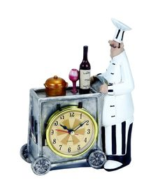 """Benzara Chef Wall Clock With Colors 20601 - Benzara Chef Wall Clock With Colors 20601Features:Lavished With Attractive ColorsMade From High Grade Polystone MaterialLend A Dash Of Color To Your KitchenWonderful Addition To Your Kitchen DecorAdd A Dash Of Color To Your Kitchen With This Stylish And Elaborately Designed Chef W Clock 8""""H, 5""""W. This Table Clock Flaunts A Unique Design And Is Lavished With Attractive Colors To Instantly Spruce Simple Kitchen Or Table Settings. This Well-Designed…"""