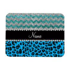Name sky blue leopard turquoise glitter chevrons magnet