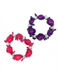 Semi-Precious Stone Elastic Bracelet in Pink and Purple - $12.00 : FashionCupcake, Designer Clothing, Accessories, and Gifts