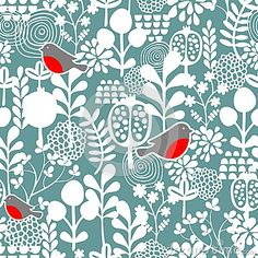 Winter birds and frozen flowers seamless pattern. by Ekaterina Panova, via Dreamstime
