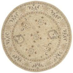 Safavieh Handmade Anatolia Beige/ Beige Wool Rug (6' Round)