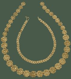 Necklaces of gold relief beads in the shape of ivy leaf and rosette. From the Tholos Tomb at Dendra.  Late 15th century BC. Athens, National Archaeological Museum,