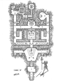"""One Page Dungeon Contest 2nd place winner: """"The Revenge of Xarr-Zuul"""". Original scan from hand drawn map."""