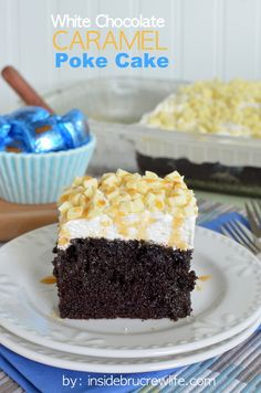 White Chocolate Caramel Poke Cake - chocolate, caramel, and candy bars make this cake so delicious www.insidebrucrewlife.com