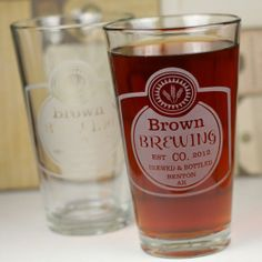 Personalized Brewing Co. Home Brew set of 2 Pints with Classy Label by GlassBlastedHomeBrew, $30.00