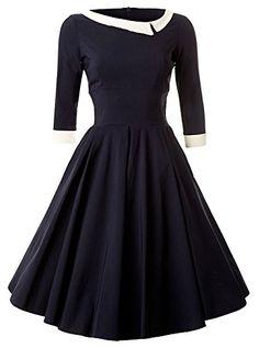 Women's 50s 60s Style Rockabilly Pinup 3/4 Sleeve Wear to Work Elegant Swing Vintage Dress Navy Blue Small ReoRia http://www.amazon.com/dp/B016VP6344/ref=cm_sw_r_pi_dp_eUtxwb0T0EV92