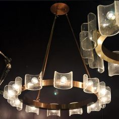 Contemporary chandelier / brass / steel / acrylic - PALERMO - Zia Priven Design