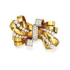 18 Karat Gold, Platinum and Diamond Brooch, Van Cleef & Arpels, Paris