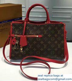 Louis Vuitton Monogram Coated Canvas Popincourt PM M43462 Red 2017 Louis Vuitton Monograme, Louis Vuitton Handbags, Louis Vuitton Speedy Bag, Chanel, Luxury Bags, Calf Leather, Calves, Red, Accessories