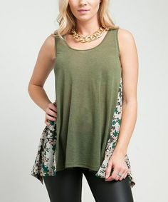 Take a look at this Green Floral Tank by Buy in America on #zulily today! $17 !!
