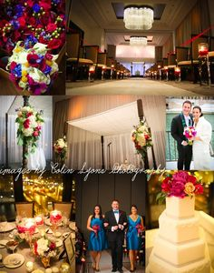 Gorgeous Langham Hotel Wedding | Blue and Magenta Flowers | Chicago Wedding Florist flowers by kiokreations