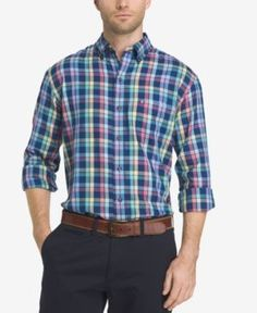 Izod Men's Plaid Shirt - Blue 2XL