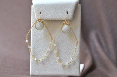 Bridesmaid 14k Gold Filled Gold Thin Hoops with moon stone Gold Bezel and Moonstone Rosary Chain Chandelier Earring by JewelrybyXinyiMartin on Etsy
