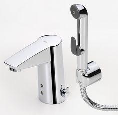 Lisää hygienisyyttä kosketusvapaalla hanalla. Oras Pesuallashana Oras Cubista 2816F ja bidetta, kosk   Netrauta.fi #kylpyhuone