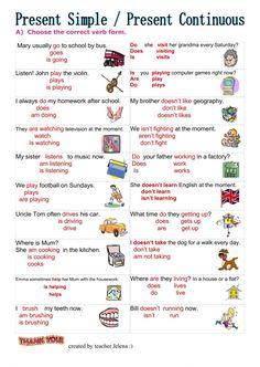 Present Simple vs Present ContinuousLanguage: EnglishGrade/level: elementarySchool subject: English as a Second Language (ESL)Main content: Present simple and present continuousOther contents: present simple, present continuous, tenses English Grammar Tenses, Grammar Quiz, English Grammar Worksheets, Free Math Worksheets, English Vocabulary, Present Continuous Worksheet, Present Continuous Tense, Simple Present Tense, English Teaching Materials