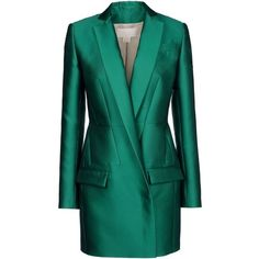 Antonio Berardi Blazer (86,235 INR) ❤ liked on Polyvore featuring outerwear, jackets, blazers, coats, dresses, emerald green, long sleeve blazer, tweed blazer, pocket jacket and blue tweed blazer
