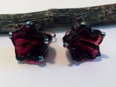 2 Lampwork Transparent Raspberry Red Flower Charms - Medium Size Flower Beads - Made to Order by Molten Wrx