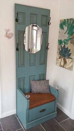 Hall tree created from old door and a night stand cut down to a bench. For sale!