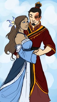 Zutara by *Windy-Asylum on deviantART. I don't quite ship this couple (though I may be persuaded if it was Aang/Katara/Zuko?) but I like their designs here. Though Katara's skin is too light. Avatar Airbender, Avatar Aang, Avatar Legend Of Aang, Zuko And Katara, Team Avatar, Legend Of Korra, Nalu, Prince Zuko, Iroh