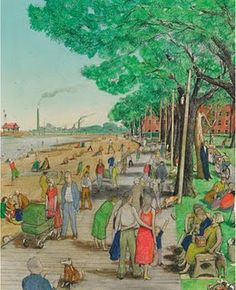 The Boardwalk at Toronto& Beaches by William Kurelek, Canadian artist and writer Canadian Painters, Canadian Artists, William Kurelek, Poem A Day, Art Brut, Lost In Translation, Artwork Images, Paintings I Love, Beach Scenes