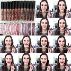 NYX Lingerie Liquid Lipstick Swatches - Baby Doll, Satin Ribbon, Lace Detail, Push-Up, Bedtime Flirt, Ruffle Trim, Exotic, Corset, Honeymoon, Embellishment, Teddy and Beauty Mark.