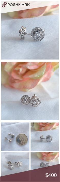 Genuine Diamond Stud Earring 14k White Gold!✨ Genuine Diamond Stud Earrings with halo of small diamonds set in 14k white gold with filigree details!! Gorgeous!! These are not certified but took to jeweler to confirm authenticity and was told only the clasps are silver all else gold and genuine diamonds!!! Perfect for the holidays! ✨ Jewelry Earrings