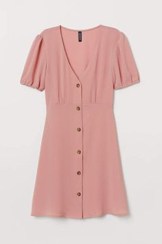 V-neck dress in woven, crêped fabric. Buttons at front, short sleeves with elasticized cuffs, and seam at waist with flared skirt. Casual Dress Outfits, Casual Dresses For Women, Cute Outfits, Crepes, The Dress, Pink Dress, 70s Women Fashion, Casual Cocktail Dress, Pink Ladies