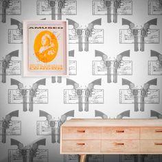 Feathr Marshall 01 Wallpaper by Russell Marshall Pop Art Wallpaper, Perfect Wallpaper, Designer Wallpaper, Newspaper Art, Modern Spaces, Elle Decor, Home Art, Screen Printing, Feathers